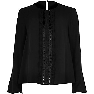 Black long sleeve lace trim top