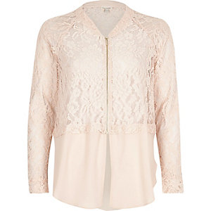 Light pink lace woven hem bomber jacket