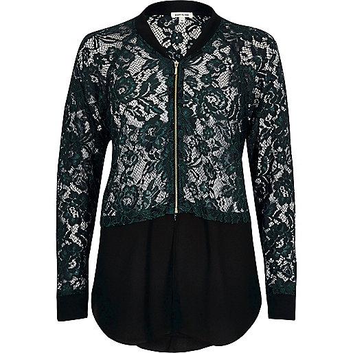 Green lace woven hem bomber jacket