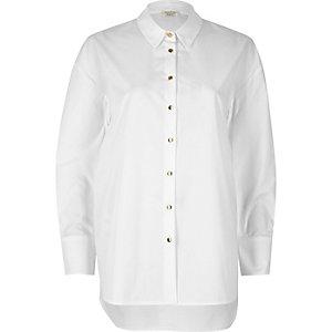 White longline poplin shirt