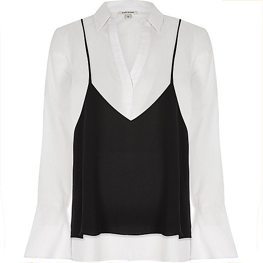 Chemise blanche avec caraco