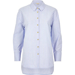 Blue stripe longline poplin shirt