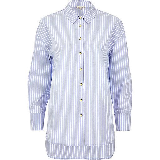 Blue stripe longline poplin shirt
