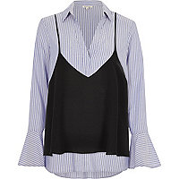 Blue stripe shirt with cami top