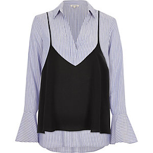 Blue stripe cami shirt