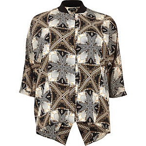 RI Plus black print popper shirt