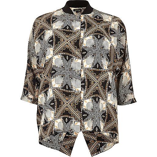 RI Plus black print popper shirt
