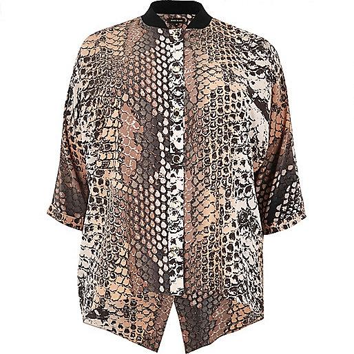 Plus – Rosa Hemd mit Druckknöpfen