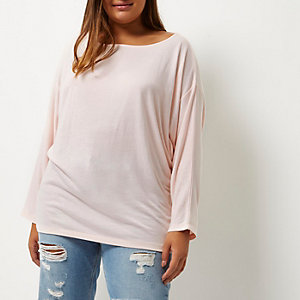 Plus light pink batwing top