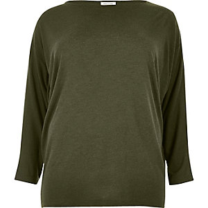Plus khaki batwing top