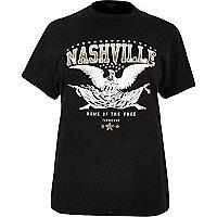 RI Plus – Schwarzes T-Shirt mit Nashville-Motiv