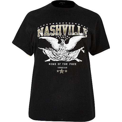 RI Plus black Nashville print T-shirt
