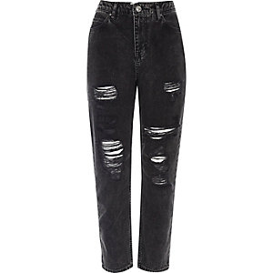 Black wash ripped Mom jeans