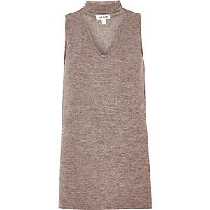 Grey choker V-neck top
