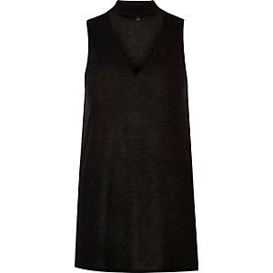 Black choker V-neck top