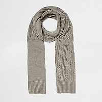Grey metallic cable knit scarf