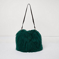 Green Mongolian wool leather strap bucket bag
