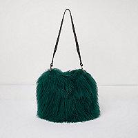 Sac bourse en laine de Mongolie vert avec bride en cuir