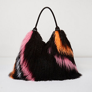 Black Mongolian wool stripe leather strap bag