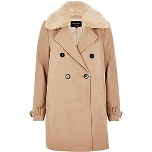 Camel faux fur collar overcoat