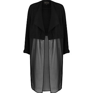 Black chiffon duster jacket