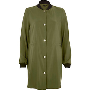 Khaki green longline bomber jacket