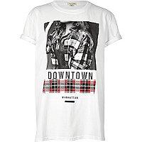 White girl print boyfriend T-shirt