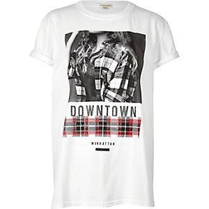Weißes, bedrucktes Boyfriend-T-Shirt