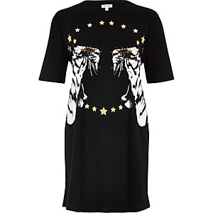 Black tiger metallic print oversized T-shirt