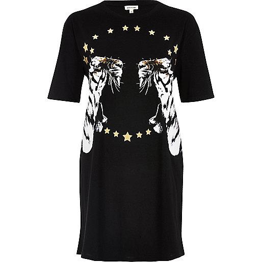 Black tiger metallic print oversized T-shirt