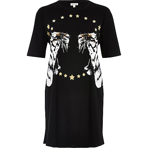 T-shirt oversize noir imprimé tigre métallisé