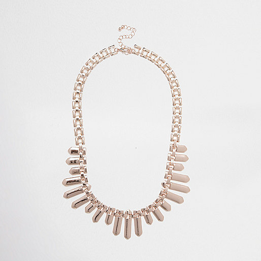 Rose gold tone chain bib necklace