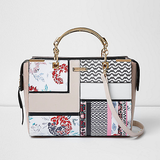 Pink floral print boxy tote bag