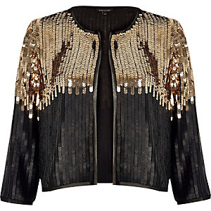 Black and gold sequin bolero