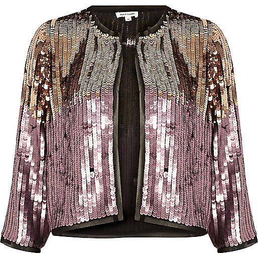 Pink and gold sequin bolero