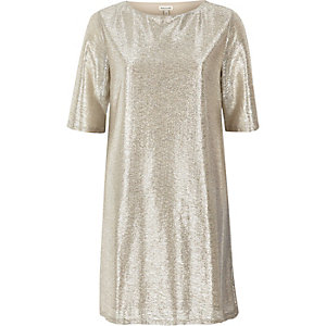 Gold T-shirt dress