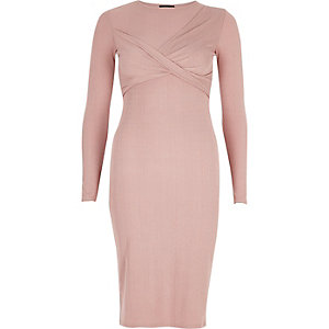 Pink twist bodycon midi dress