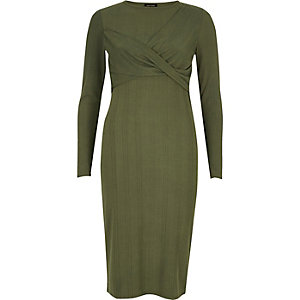 Khaki green twist bodycon midi dress