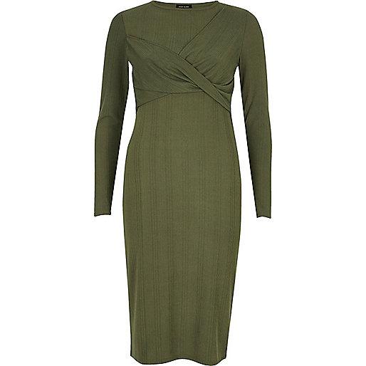 Khaki green twist bodycon midi dress