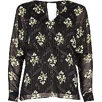 Black floral print angel lace top