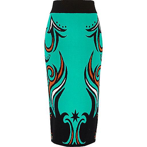 Turquoise intarsia knit pencil skirt