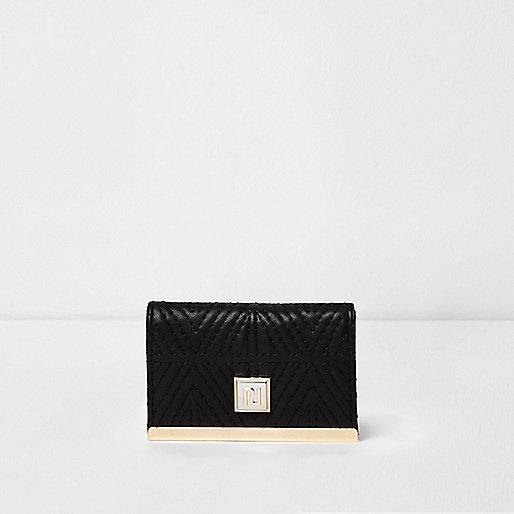 Porte-cartes noir matelassé