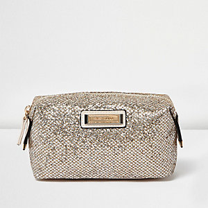 Gold glitter make-up bag