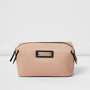 Pink embossed make-up bag
