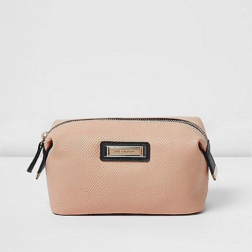 Pink embossed make-up bag