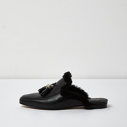 Black leather faux fur backless loafers