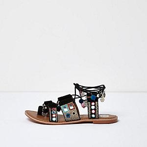 Black embellished suede coin sandals