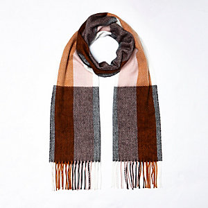 Brown stripe check scarf