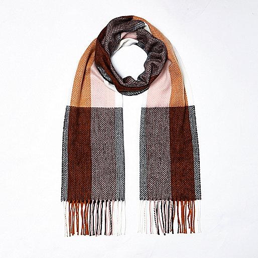 Brown stripe plaid scarf