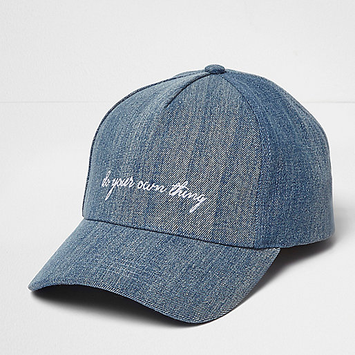 Blue denim DYOT slogan cap